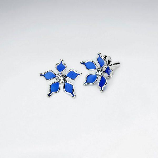 Boucle d'Oreille Argent Fleur Cinq pétales en émail Bleu