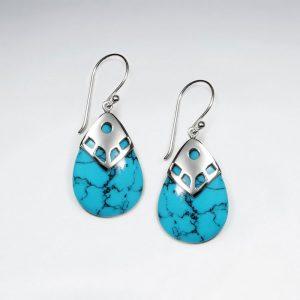 Boucle d'Oreille Argent en forme de goutte Bleu Turquoise