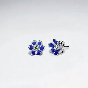 Boucle d'Oreille Dormeuses Fleur Zircon Cubique Central Bleu