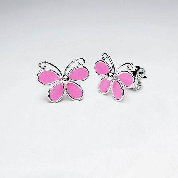 Boucle Oreille Puce Papillon en émail Rose