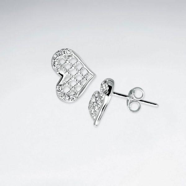 Boucle d'Oreille Argent 925 Cristal Zircon Forme Coeur