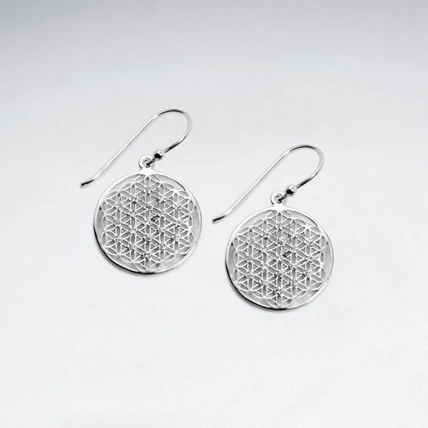 Boucle d'Oreille Argent Fleur de la Vie Plaqué Or Rose Zircon Cristal Crochet
