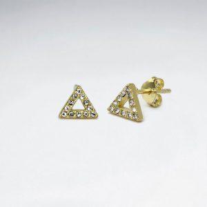 Boucle d'Oreille Argent Puce Triangle Cristal Zircon Plaqué Or