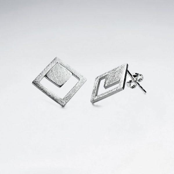 Boucles d'Oreilles Argent Art Déco Carré Mat Minimalisme