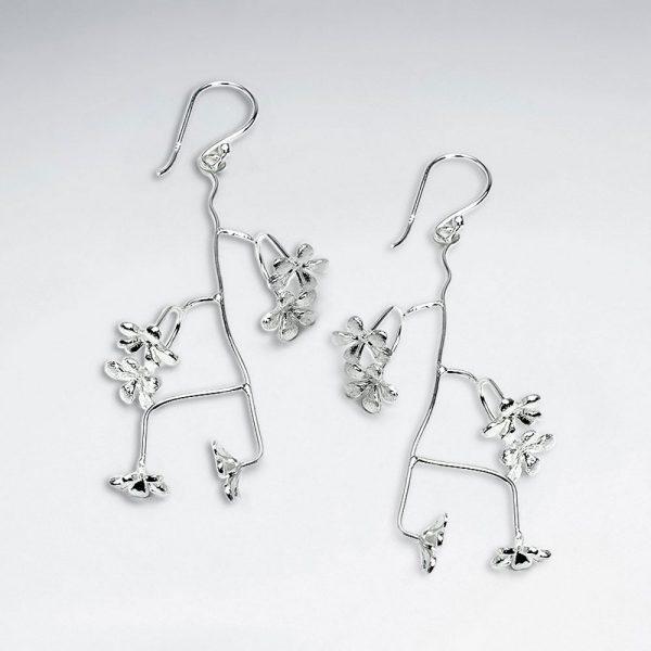 Boucles d'Oreilles Argent Branche a Fleur