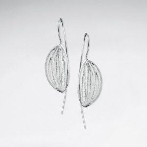 Boucles d'Oreilles Argent Brossé Tombantes Feuille