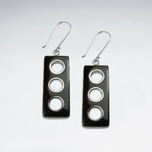 Boucles d'Oreilles Argent Coquillage Rectangle Triple Cercles