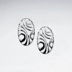 Boucles d'Oreilles Argent Exotique Forme Ovale