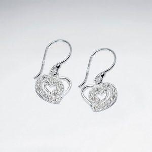 Boucles d'Oreilles Argent Forme Coeur Cristal Zircon