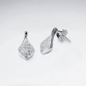 Boucles d'Oreilles Argent Forme Losange Cristal Zircon