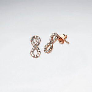 Boucles d'Oreilles Argent Infini Cristal Zircon Incrusté Rose
