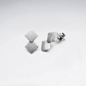 Boucles d'Oreilles Argent Mat Double Carré Minimaliste