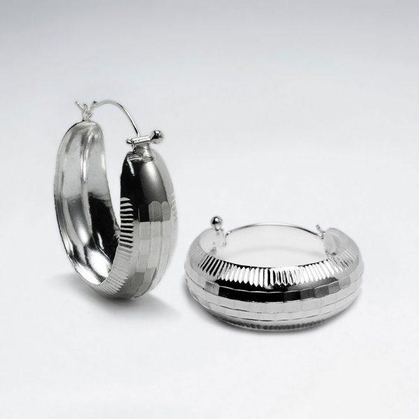 Boucles d'Oreilles Argent Texturé Poli avec Stries