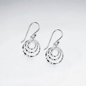 Boucles d'Oreilles Argent Triple Cercles Martelé