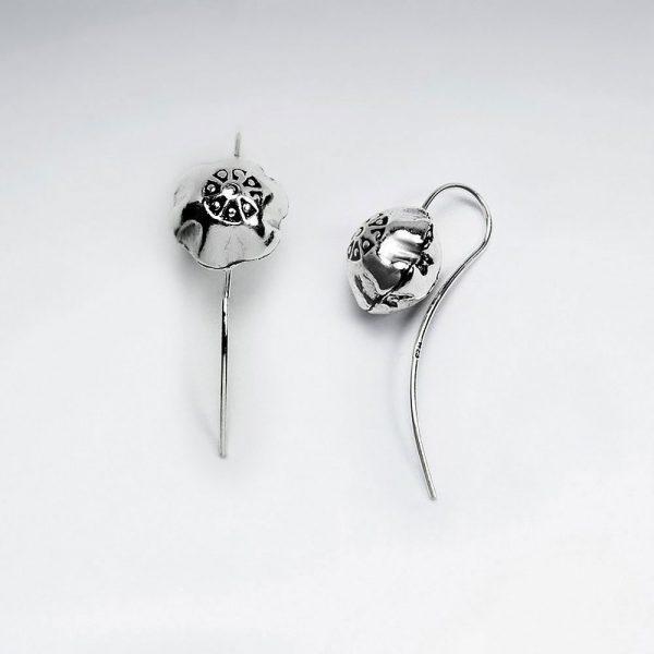 Boucles d'Oreilles Crochet Fleur Argent Oxydé