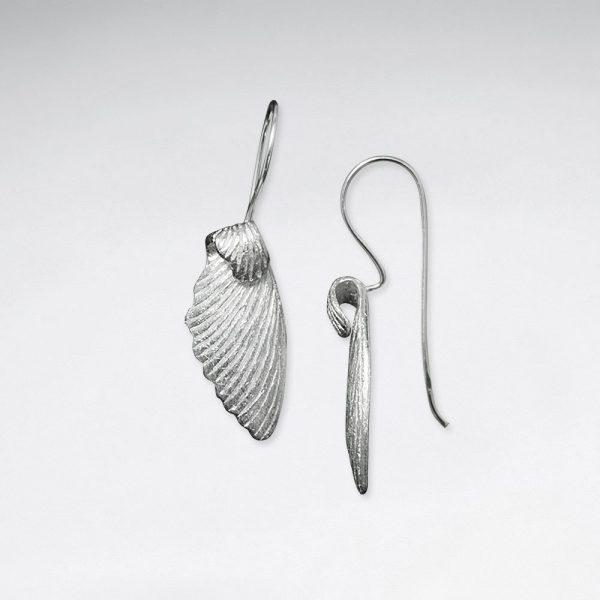 Boucles d'Oreilles Crochet en Argent Brossé Ailes d'Ange