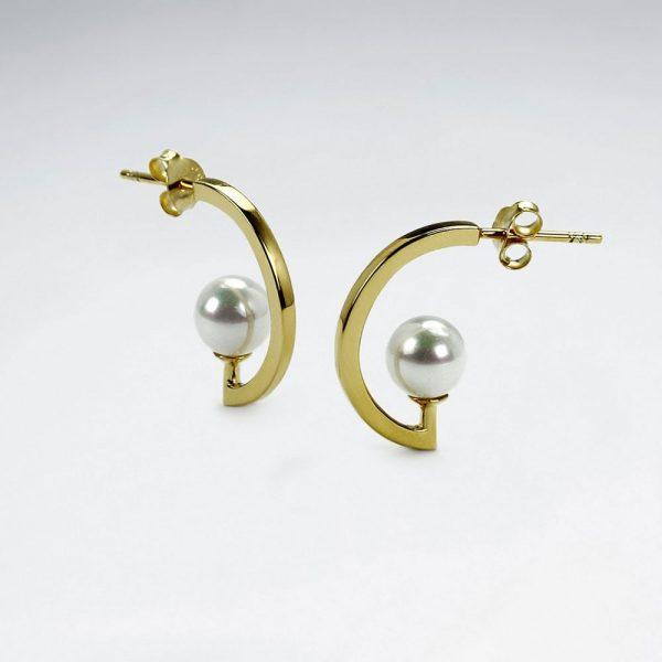 Boucles d'Oreilles Demi Cercle Perle de Culture Plaqué Or