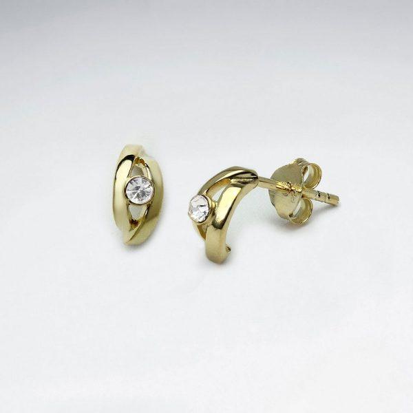 Boucles d'Oreilles Demi Croissant Diamant Crystal Plaqué or