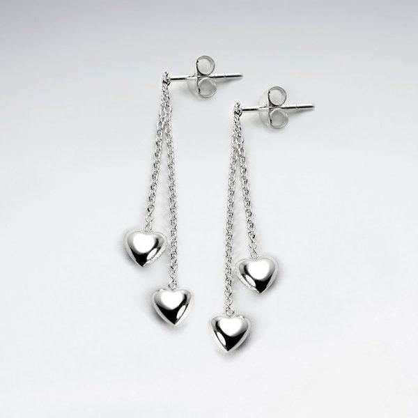 Boucles d'Oreilles Double Coeur Suspendu Chaîne