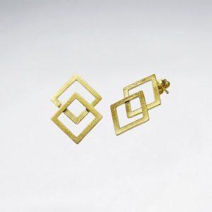 Boucles d'Oreilles Double Losange Superposition Plaqué Or