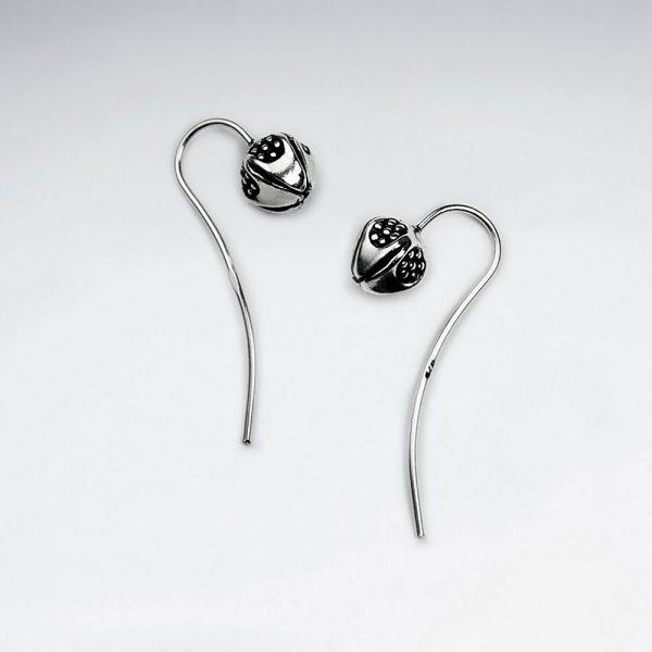 Boucles d'Oreilles Fleur Pavot Opium en Argent Oxydé