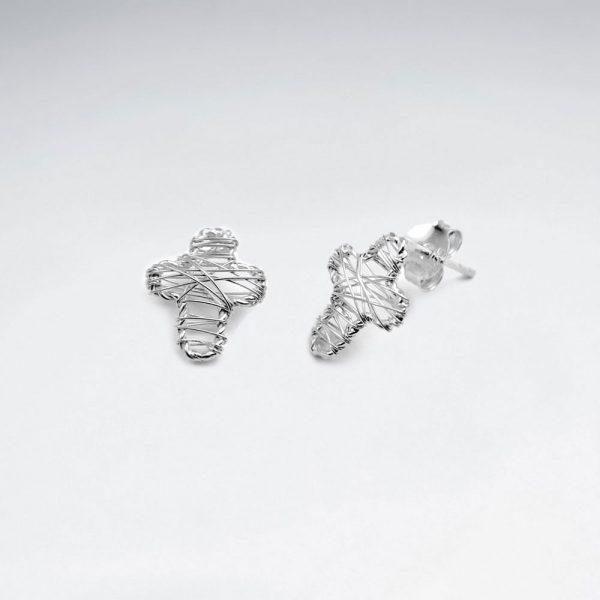 Boucles d'Oreilles Forme Croix Fil d'Argent