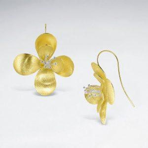 Boucles d'Oreilles Forme Fleur Argent 925 Plaqué Or