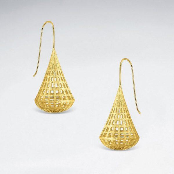 Boucles d'Oreilles Forme Goutte 3D Filigrane Plaque Or