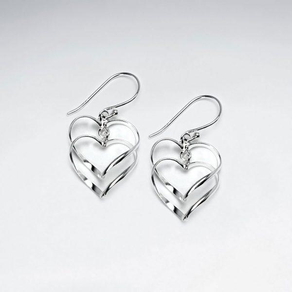 Boucles d'Oreilles Pendante Double Coeur Ajourée
