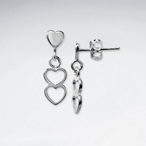 Boucles d'Oreilles Pendante Double Coeur Ouvert
