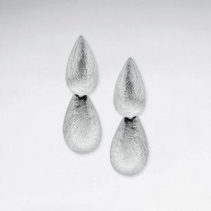 Boucles d'Oreilles Pendante Double Goutte Aspect Mat Brossé