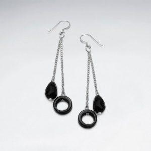 Boucles d'Oreilles Pendante Pierre Noire Carillon & Cercle