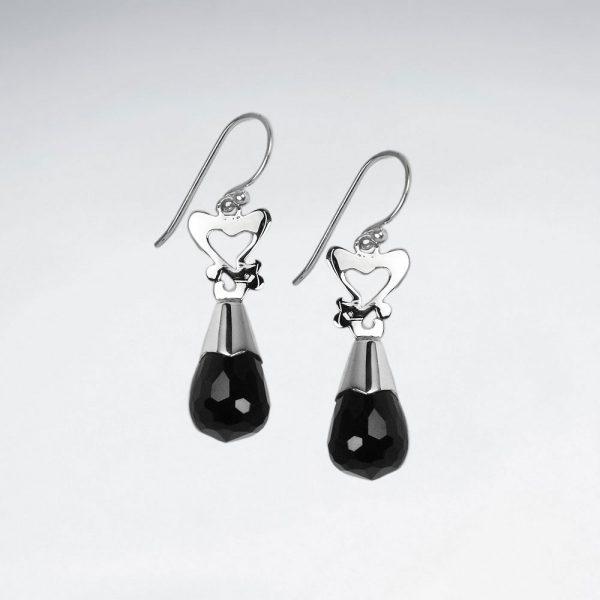 Boucles d'Oreilles Pierre Noir Facettes avec Coeurs Argent