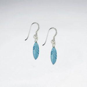 Boucles d'Oreilles Plume Pierre Turquoise Lapiz Lazuli