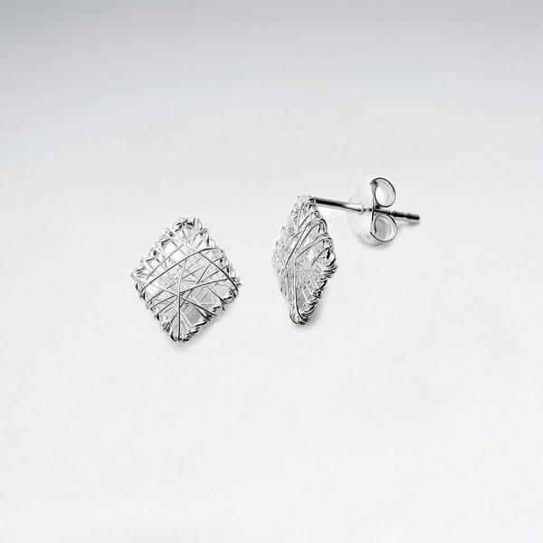 Boucles d'Oreilles Puce Forme Losange en Fil d'Argent