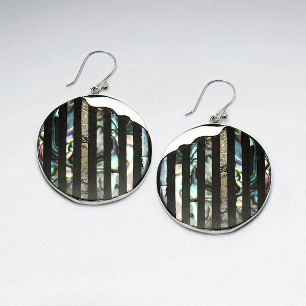 Boucles d'Oreilles Tendance Abalone Cercles Rayé