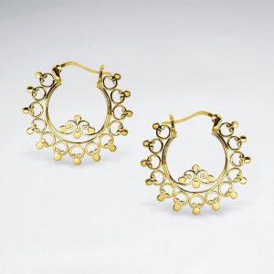 Boucles d'Oreilles Anneaux en Argent Filigrane Tourbillon plaqué or 18 carats