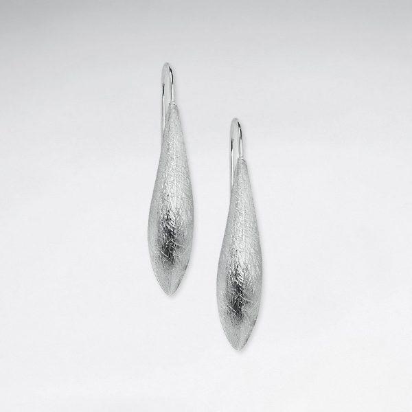 Boucles d'Oreilles Argent Brossé Long et Etroit