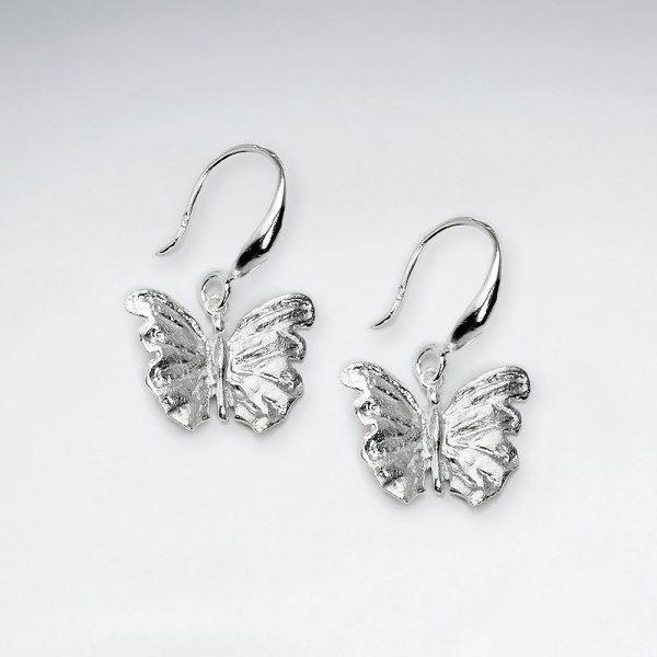 Boucles d'Oreilles Argent Papillon Pendant