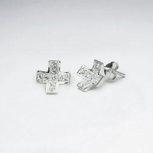 Boucles d'Oreilles Concave en forme de Croix en Argent et CZ