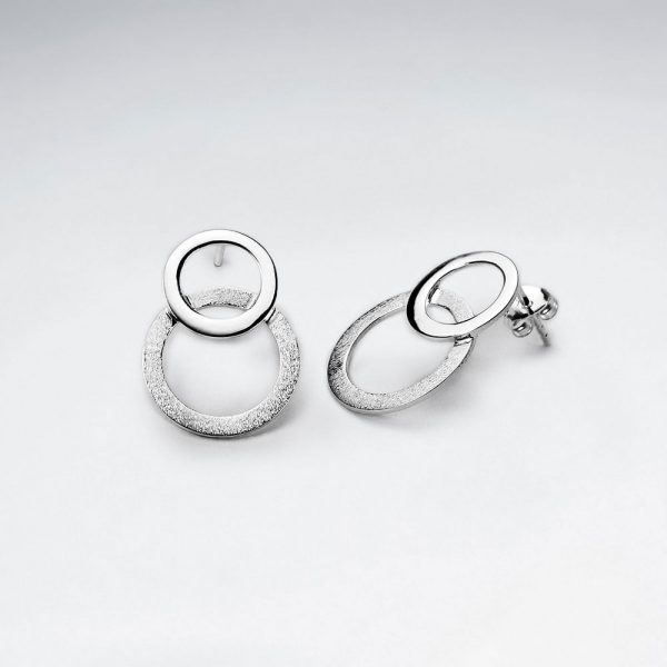 Boucles d'Oreilles Double Cercle Interconnectée Minimaliste