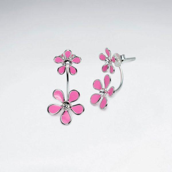Boucles d'Oreilles Double Fleur en Argent Email Rose