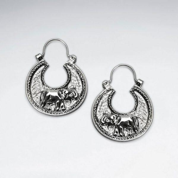 Boucles d'Oreilles Eléphant Texturé Créole