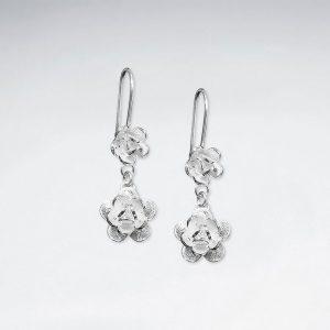 Boucles d'Oreilles Pendante Double Fleur Hiérarchisé Oxydé