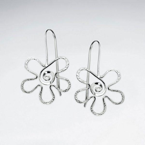 Boucles d'oreilles Fleur Tourbillon Argent