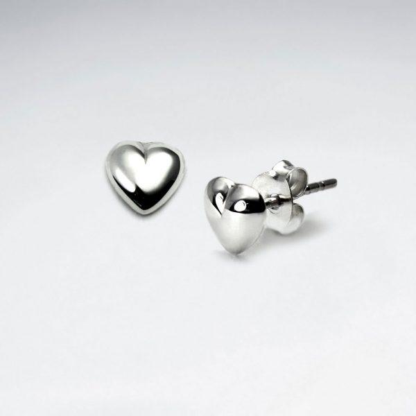 Boucles d'oreilles Argent Poli Coeur Unique
