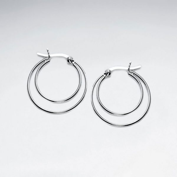 Boucles d'oreilles Créole en Argent Double Anneaux