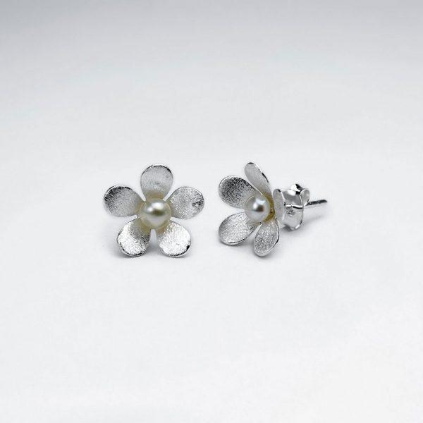 Puce Boucle d'Oreille Perle Fleur Argent
