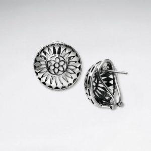 Puce Boucles d'oreilles Argent Oxydé Demi Globe Filigrane