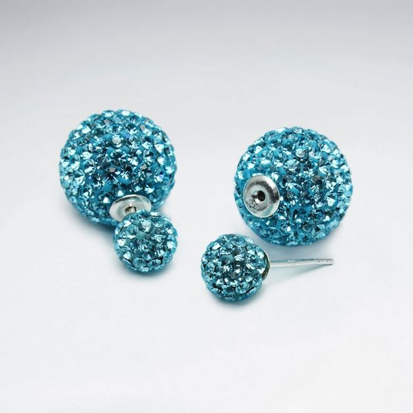 Puce d'Oreille Boule Strass Cristal Optima Multi Couleur